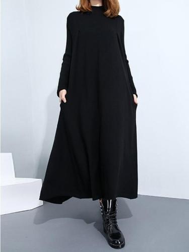 Warm High Neck long sleeve long maxi dresses