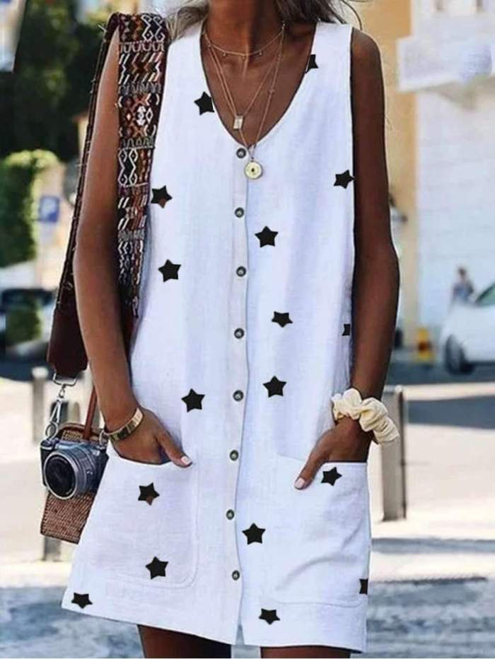 Fashion Casual Star V neck Sleeveless Fastener Pocket Shift Dresses
