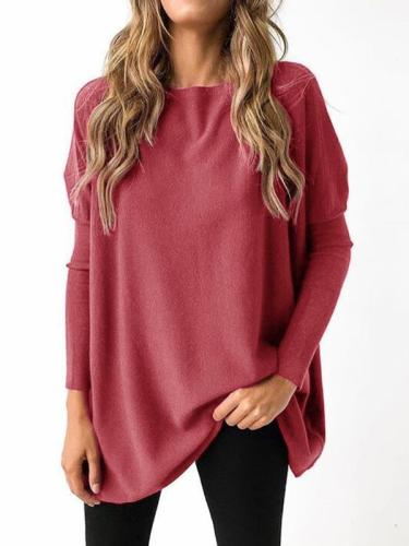 Round neck Long sleeve  solid color T-shirts
