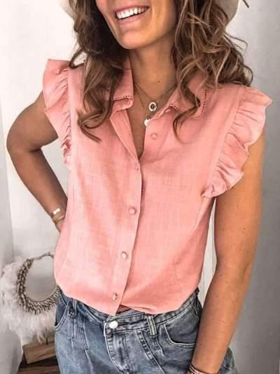 Women turn down neck sleeveless stringy selvedge blouses