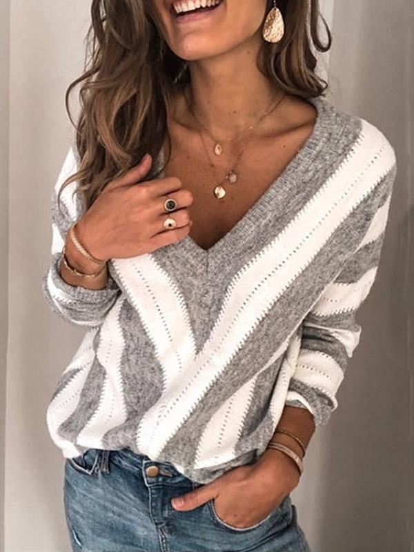 Fashion Stripe Women v neck sweaters