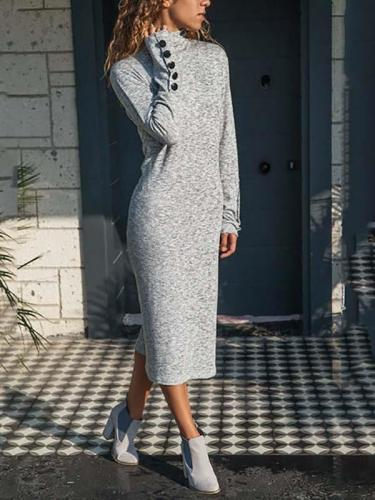 Knit long sleeve shift dresses