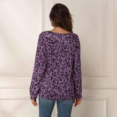 Fashion Leopard Print Long sleeve Round neck T-Shirts
