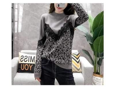 Fashion round neck lace stitching leopard sweater