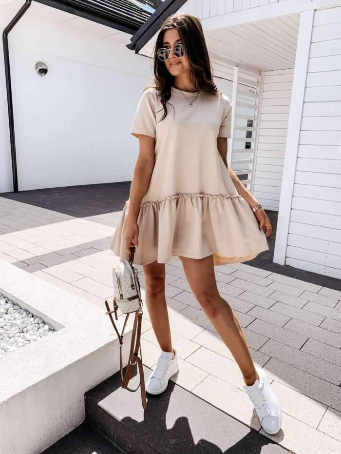 Casual Pure Round neck Short sleeve Gored Shift Dresses