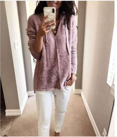 Fashion Casual Pure Plush Long sleeve Hoodies Sweatshirts