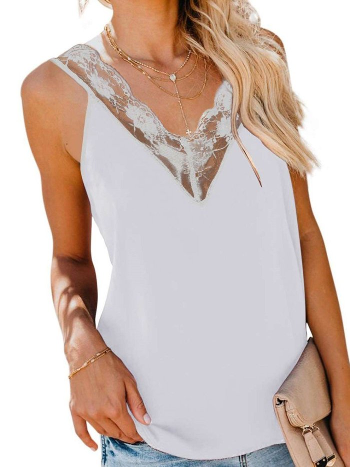 Fashion Casual Pure Lace Hollow out Vests