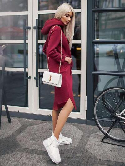 Casual Loose Pure Pocket Hoodies & Sweatshirts Maxi Dresses