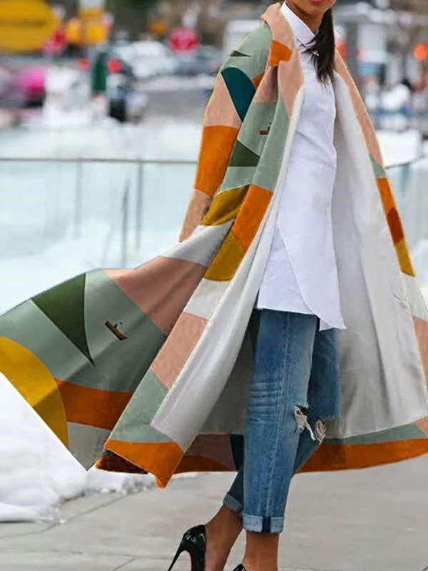 Fashion Lapel Print Long sleeve Coats