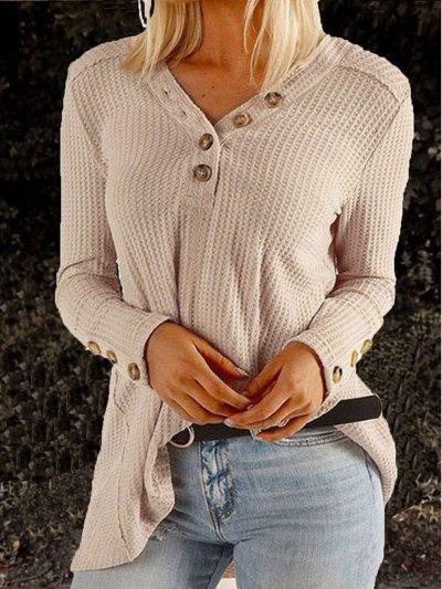 Fashion V neck Knit Long sleeve Sweaters
