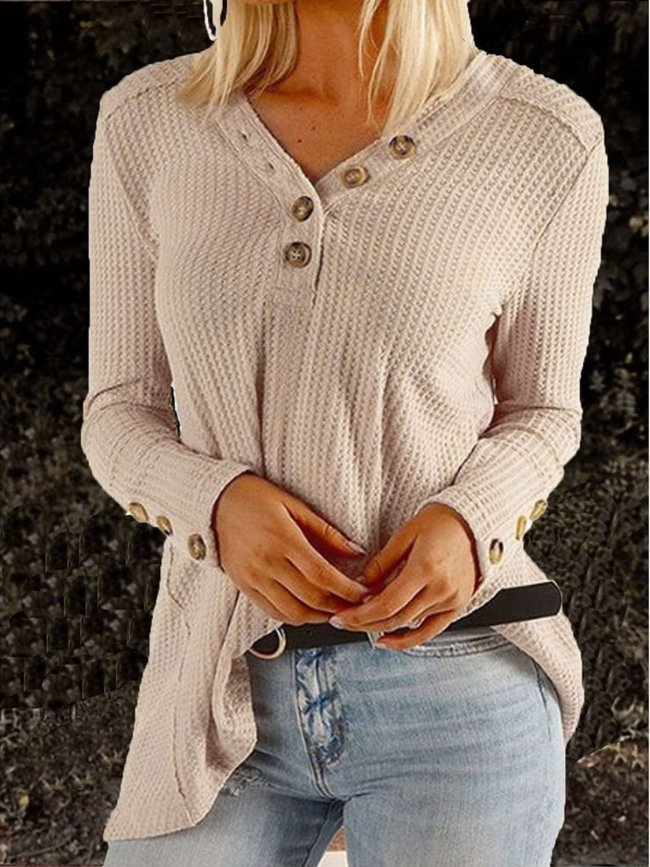 Fashion V neck Knit Long sleeve Sweaters