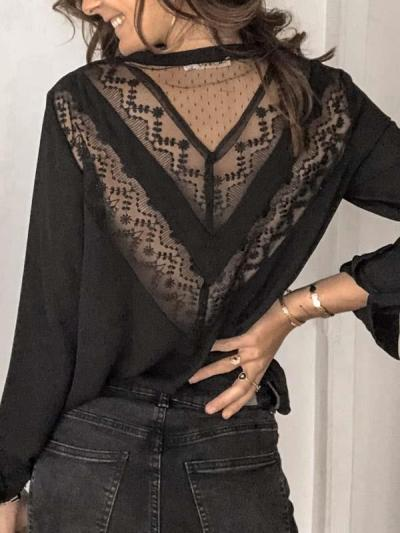 Women lace fashion long sleeve Blouses