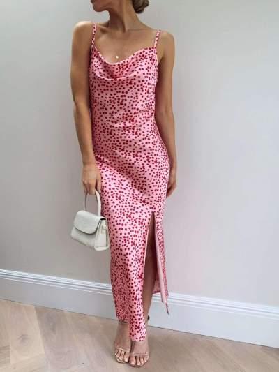 Fashion Point print Vest Sleeveless Vent Bodycon Dresses