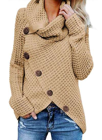 Pure High collar Knit Long sleeve Cardigan Sweaters