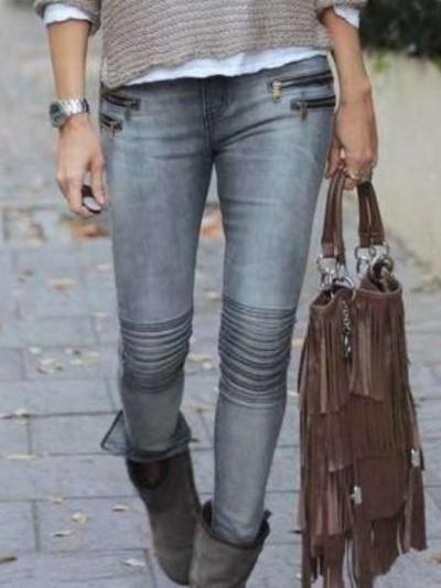 Fashion Zipper Jeans  Pencil pants