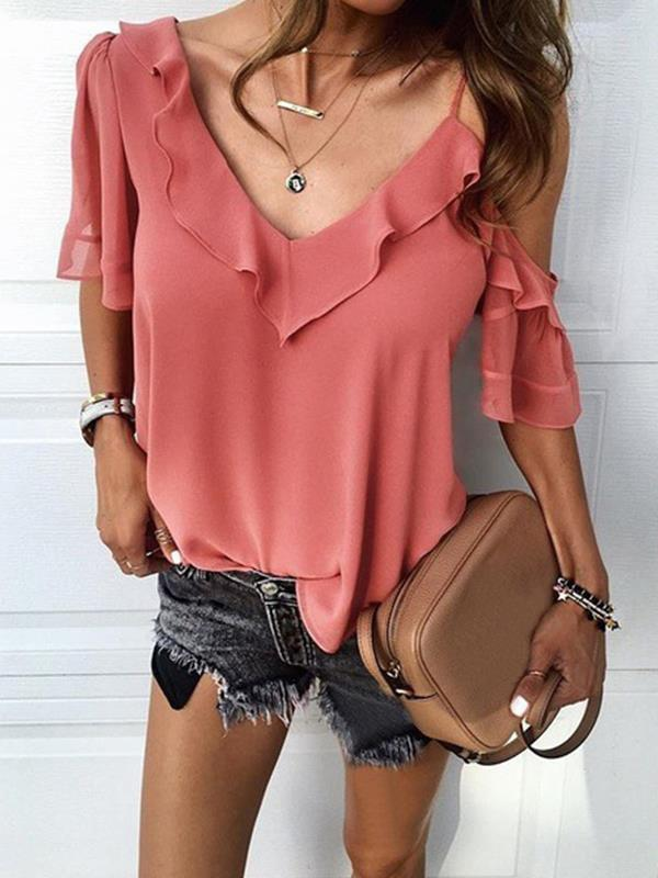 Chiffon blouse irregular lotus collar Plain Blouses