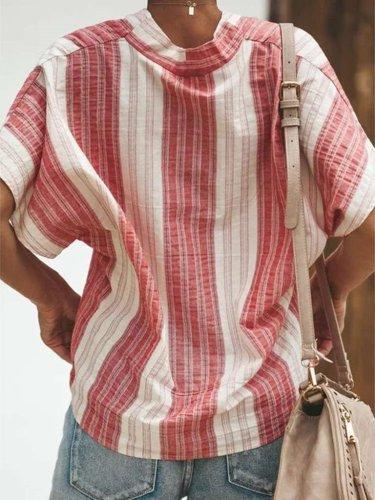 Casual Loose Stripe V neck Short sleeve Blouses