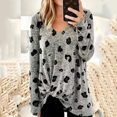 Print Snarls V neck Long sleeve T-Shirts