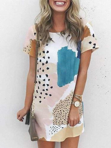 Casual Print Round neck Short sleeve Shift Dresses