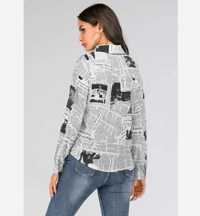 Fashion Paper Print Lapel Long sleeve Blouses