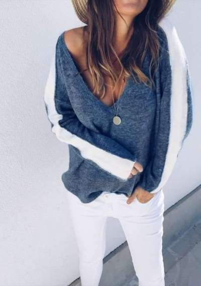 Fashion V neck Gored Long sleeve Knit Sweaters