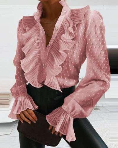 Fashion Sexy Falbala V neck Long sleeve Blouses