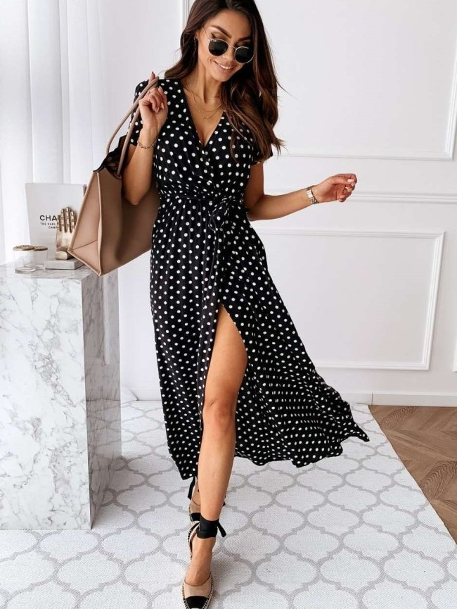 Fashion Point print V neck Short sleeve Lacing Maxi Dresses