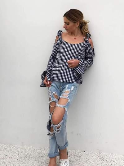 Casual Plaid Lacing Long sleeve Vest  Blouses