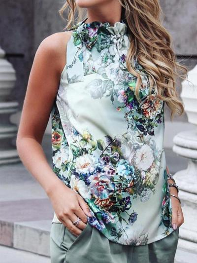 Women Printed Sleeveless Chiffon T-shirts