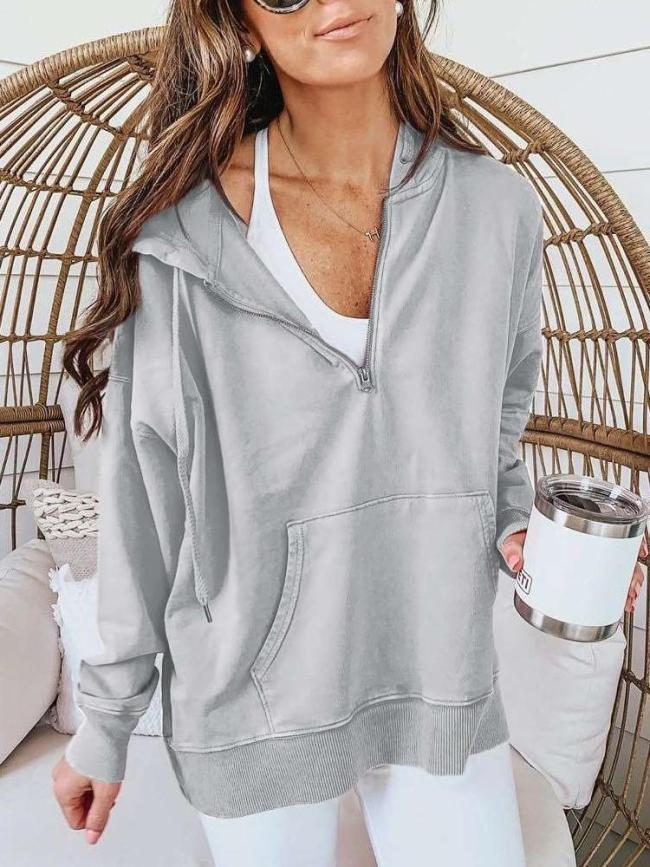 Fashion Casual Pure Long sleeve Hoodies Sweatshirts