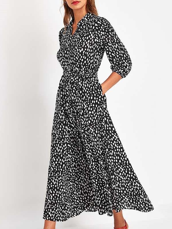 Fashion Point Print Lapel Lacing Pocket Maxi Dresses
