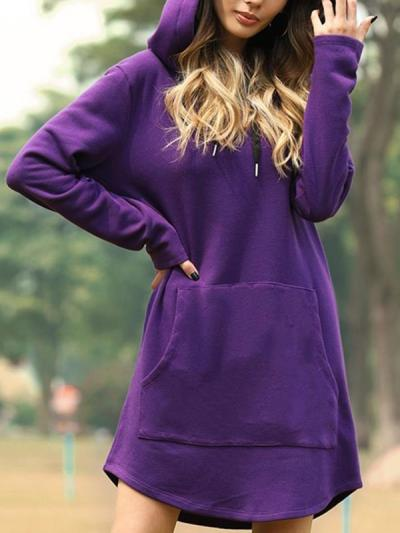 Casual solid color hoodied sweatshirts for women
