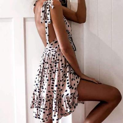 Fashion Point print V neck Backless Skater Dresses