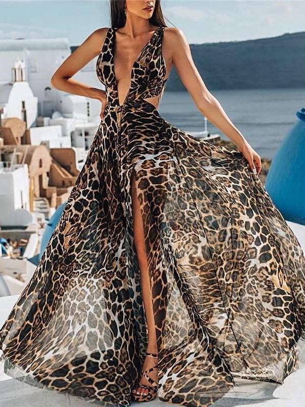 Sexy V neck Leopard print Vest Vacation Dresses