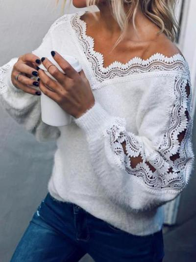 Women Chic V neck long sleeve lace white sweaters