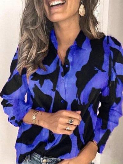 Women plus size fashion printed turn down neck long sleeve Blouses