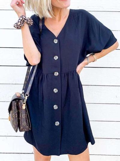 Casual Loose Pure Gored V neck Short sleeve Fastener Shift Dresses