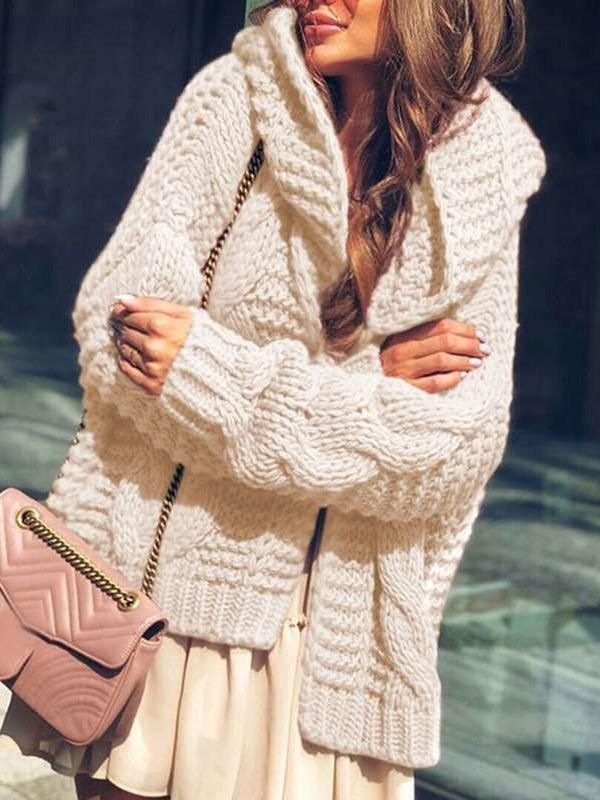 Fashion Casual Loose Pure Knit Long sleeve Hoodie Cardigan