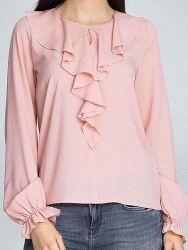 Petals collar Long sleeve Loose Blouses