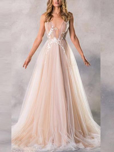 Sexy Elegant V neck backless women long evening dresses