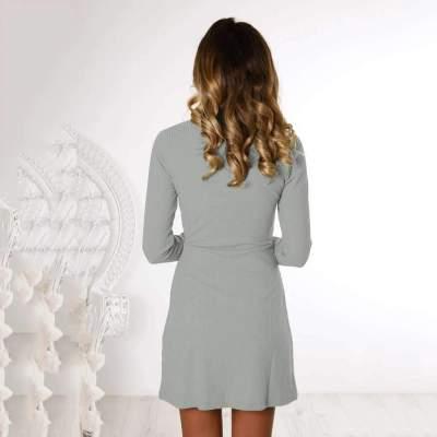 Fashion Pure Fastener Round neck Knit Shift Dresses