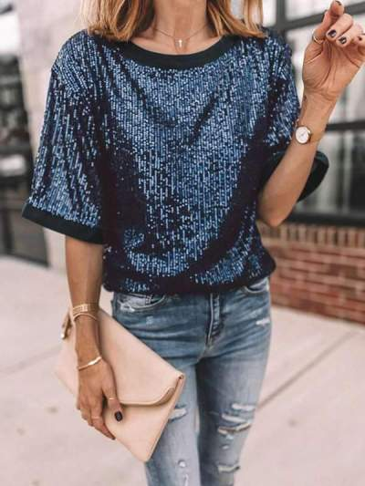 Summer patchwork short sleeve sequined top T-shirts