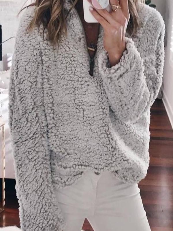 Band Collar  Plain Basic Sweatshirts