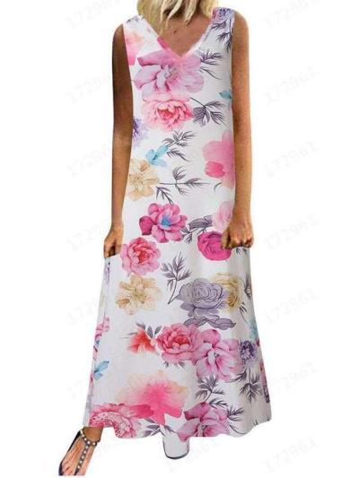 Fashion V neck Print Maxi Dresses