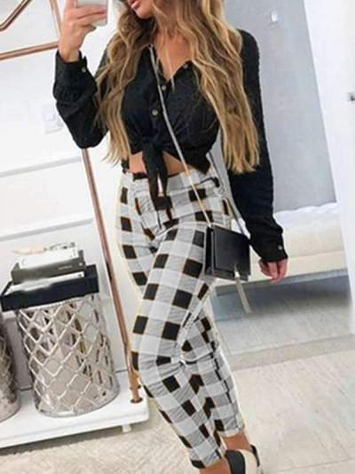 Casual pants checked printed Grid long pants