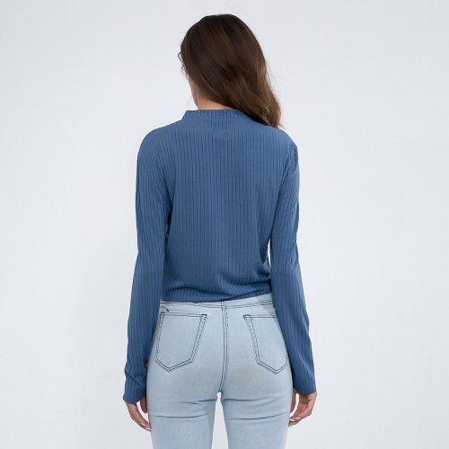 V-Neck Button Long-Sleeve Knit T-Shirt