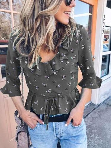 Fashion Round neck Print Falbala Blouses