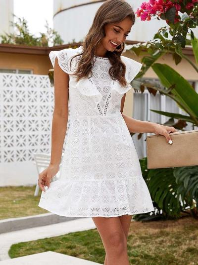 Fashion Pure Round neck Hollow out Falbala Shift Dresses