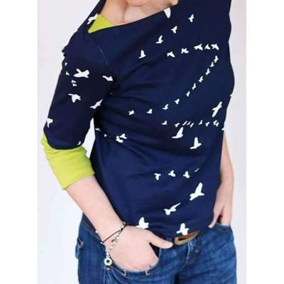 Fashion Gored Print Round neck Long sleeve T-Shirts