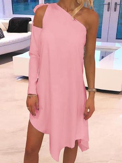 Elegant Irregular hem plain sloping shoulder dress